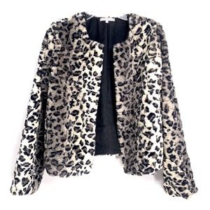 Willow & Clay Leopard Animal Faux Fur jacket